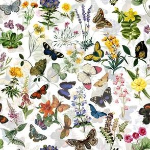 "10"" Butterflies In Spring Flower Garden- White Double"