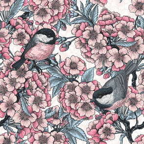 Cherry blossom and chickadee birds