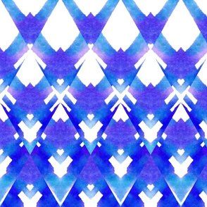 Blue Watercolor Diamonds