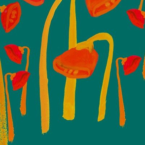 Droopy Flowers in red, gold, and green