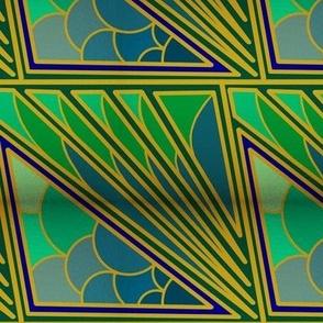 Art Nouveau Peacock and Gold Wallpaper Tile
