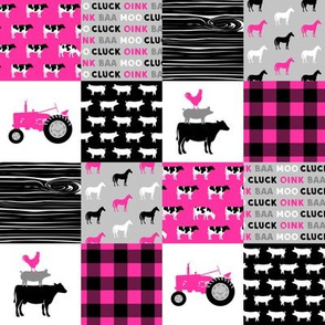 "(2"" scale) farm patchwork fabric - bright pink and black C19BS"
