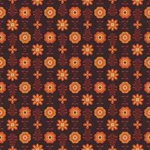 Retro groovy flowers in yellow orange brown SMALL