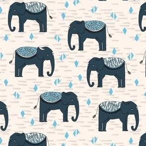 SMALL - Elephants Parade - Champagne/Soft Blue/Parisian Blue
