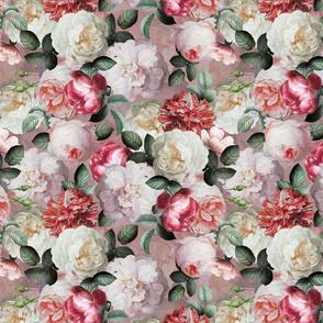 """12"""" Antique Jan Davidsz. de Heem Lush Roses Flowers On Mauve"""