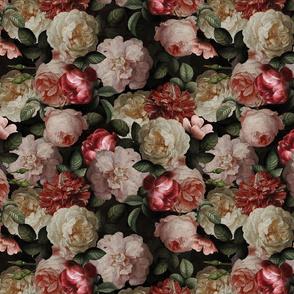 """12"""" Antique Jan Davidsz. de Heem Lush Roses Flowers On Black"""