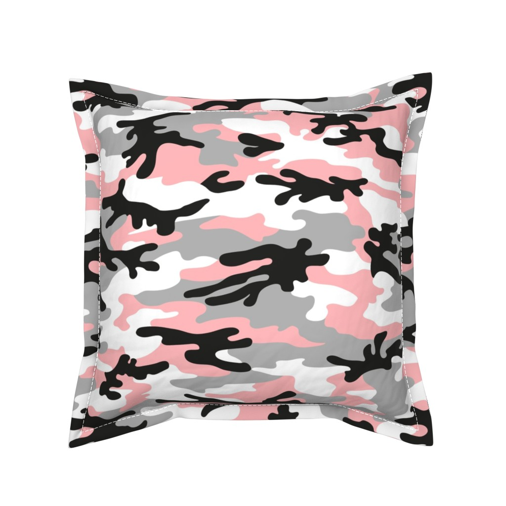 Serama Throw Pillow featuring camouflage - large by mirabelleprint