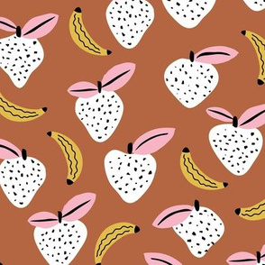 Fruity garden paper cut fruit Scandinavian style strawberry banana smoothie botanical minimal trend design fall cognac brown yellow pink
