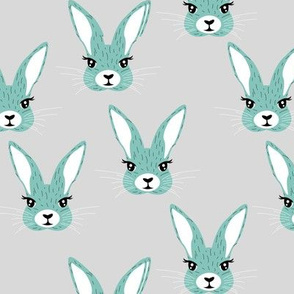 Baby rabbit illustration spring and easter animals hare  bunny design boys blue gray