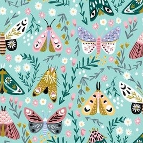 butterflies fabric - spring floral, spring butterflies, easter, baby girl, baby, feminine floral - mint