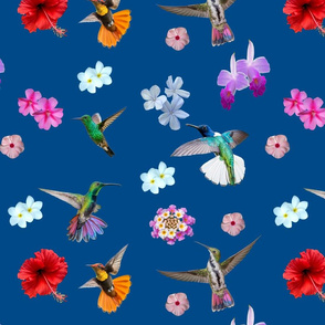 Hummingbirds and flowers classic blue