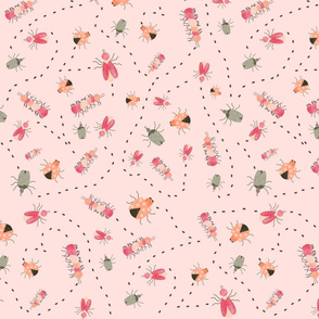 Whimsical Insects and Tracks, Pink/Peach