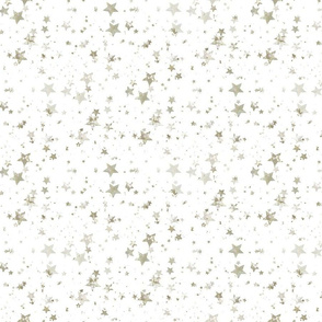 Silver Gold Stars on White 7x9