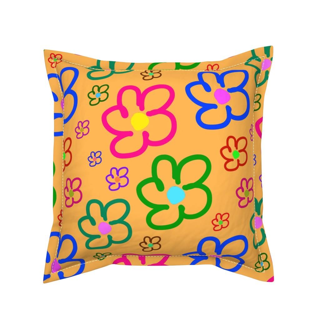 Serama Throw Pillow featuring Flower Power - Naïf - Apricot, large by bravenewart