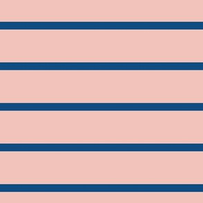 Classic blue on blush pink ★ horizontal stripes for modern home decor, bedding, nursery