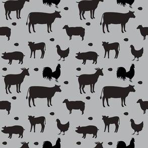 Farm Animals Gray Black Sm