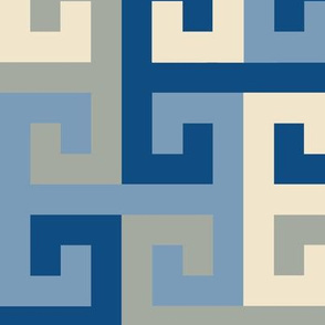 Tessellating T Greek Key in Classic Blue