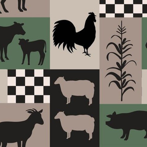 Farm Life Patch Green Taupe Black Med