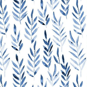 Classic blue magic leaves ★ watercolor nature branches for modern home decor, bedding, nursery