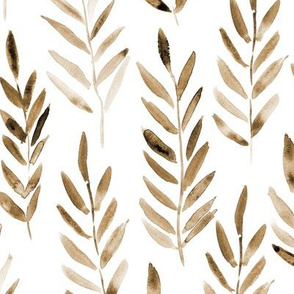 Neutral bronze toned watercolor leaves ♥ painted branches for modern home decor, boho bedding, nursery