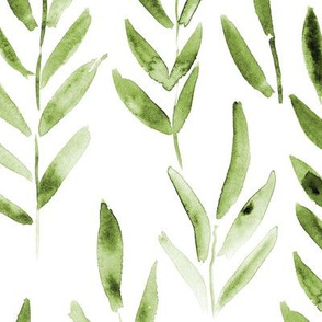 Khaki watercolor leaves ★ large scale green branches for modern home decor, bedding, nursery