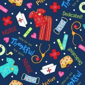 Nurse Thankful Navy Blue Medium