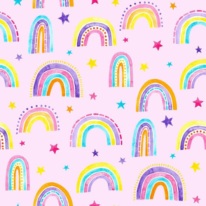Watercolour Rainbows in Pink