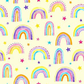 Watercolour Rainbows in Yellow