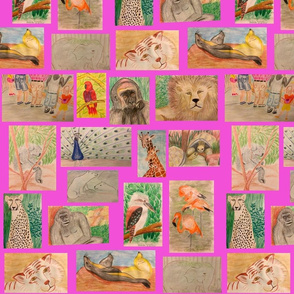 Lg. Trip to the Zoo on Pink by DulciArt, LLC