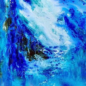 Crashing Wave Action Abstract in Blues