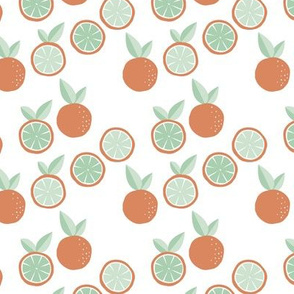 Fruity garden paper cut oranges fruit Scandinavian style strawberry banana smoothie botanical minimal trend design spring citrus orange mint green SMALL