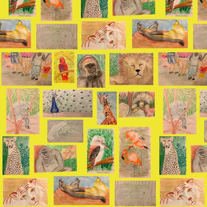 Lg. Trip to the Zoo on Yellow by DulciArt, LLC