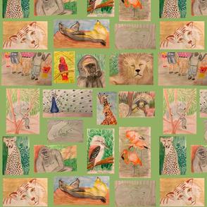 Lg. Trip to the Zoo on Sage by DulciArt,LLC