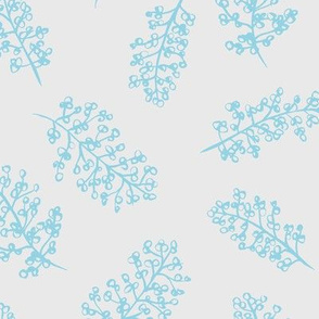 Delicate garden raw brush branch Scandinavian style winter blue gray