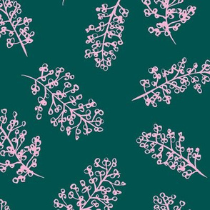 Delicate garden raw brush branch Scandinavian style winter emerald green pink