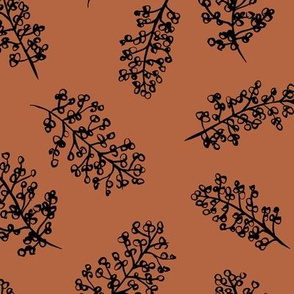 Delicate garden raw brush branch Scandinavian style winter rusty copper brown
