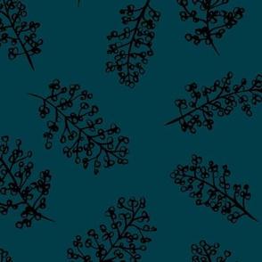 Delicate garden raw brush branch Scandinavian style winter night blue