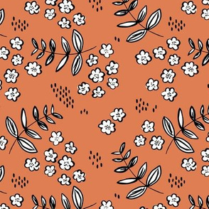 Delicate flower garden and lush green leaves and poppy seeds rusty orange MEDIUM