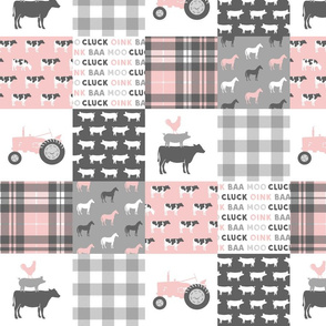 "(4"" scale) farm life wholecloth patchwork with plaid - pink and grey C19BS"