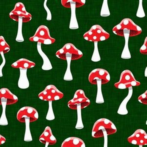 Red and White Mushrooms - dark green - LAD19