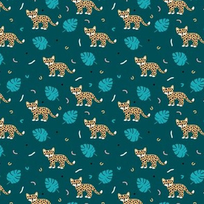 Dots and cats botanical night jungle baby tiger wild cat panther blue boys SMALL