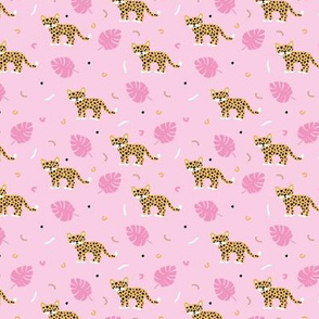 Dots and cats botanical night jungle baby tiger wild cat panther golden pink girls SMALL