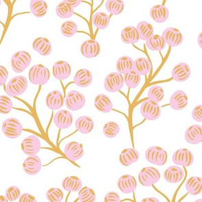 Delicate garden snow berries and poppy seeds classic spring summer golden yellow pink