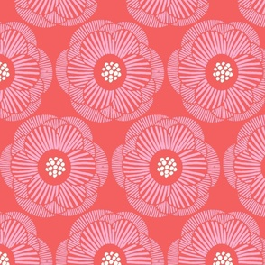 pink camellia/bright coral background