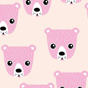 Little baby grizzly bear Scandinavian woodland animal portrait illustration creme pink girls