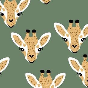 Little baby giraffe african safari animals minimal baby animal portraits neutral forest green yellow