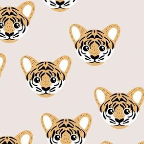 Little baby tiger safari jungle animal portrait friends illustration neutral soft beige gray ochre yellow
