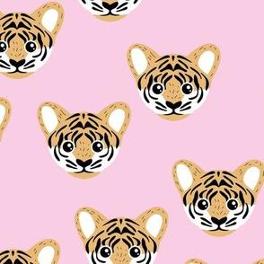 Little baby tiger safari jungle animal portrait friends illustration neutral golden yellow pink girls