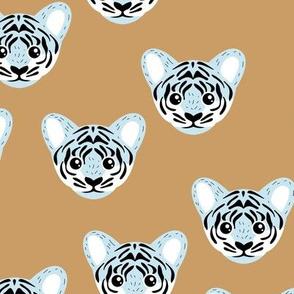 Little baby tiger safari jungle animal portrait friends illustration neutral golden yellow blue boys