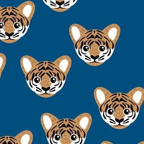 Little baby tiger safari jungle animal portrait friends illustration winter night classic blue brown